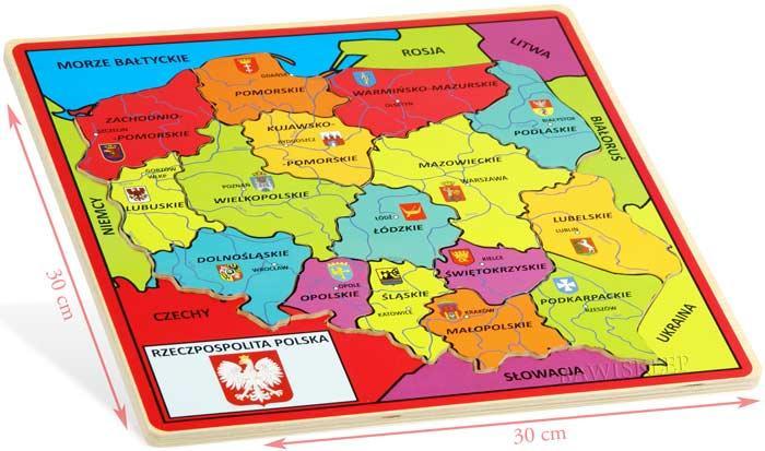 polska z województwami mapa