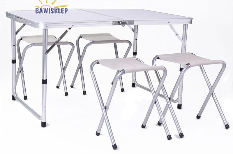 Stolik Składany 4 Krzesła Stół Turystyczny Kemping